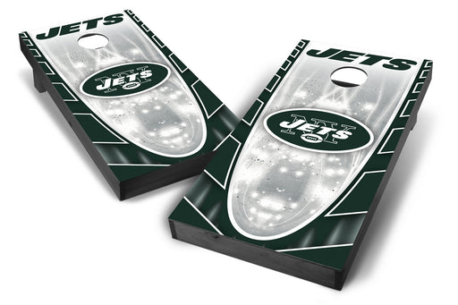 New York Jets 2x4 Cornhole Board Set Onyx Stained - Hot