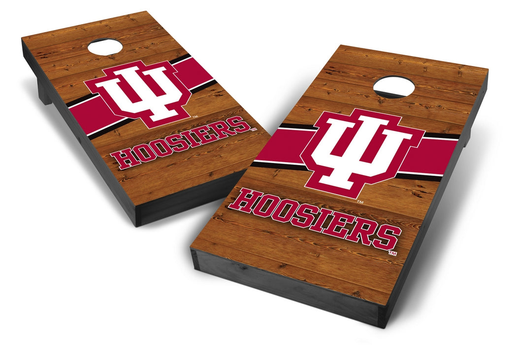 Indiana Hoosiers 2x4 Cornhole Board Set Onyx Stained - Logo