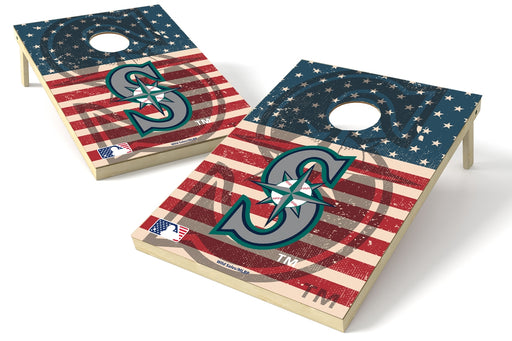 Seattle Mariners 2x3 Cornhole Board Set - American Flag Weathered