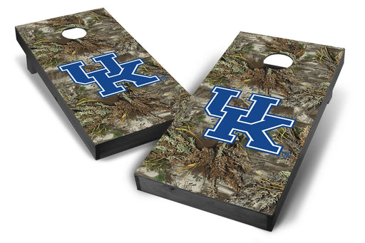 Kentucky Wildcats 2x4 Cornhole Board Set Onyx Stained - Realtree Max-1 Camo