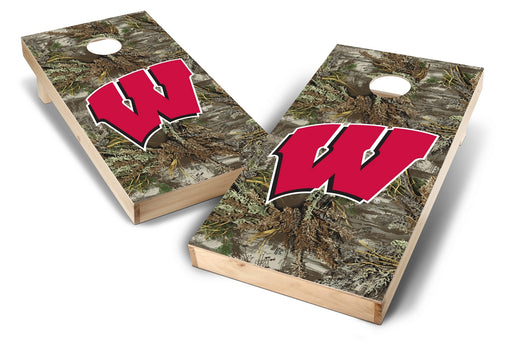 Wisconsin Badgers 2x4 Cornhole Board Set - Realtree Max-1 Camo
