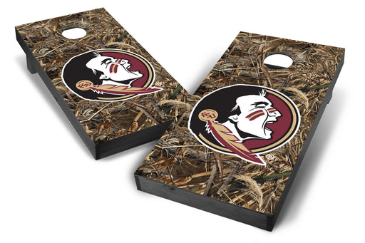 Florida State Seminoles 2x4 Cornhole Board Set Onyx Stained - Realtree Max-5 Camo