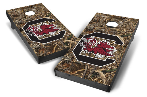 South Carolina Gamecocks 2x4 Cornhole Board Set Onyx Stained - Realtree Max-5 Camo