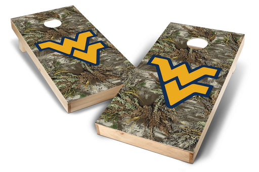 WVU Mountaineers 2x4 Cornhole Board Set - Realtree Max-1 Camo