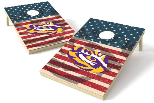 LSU Louisiana State Tigers 2x3 Cornhole Board Set - American Flag Weathered