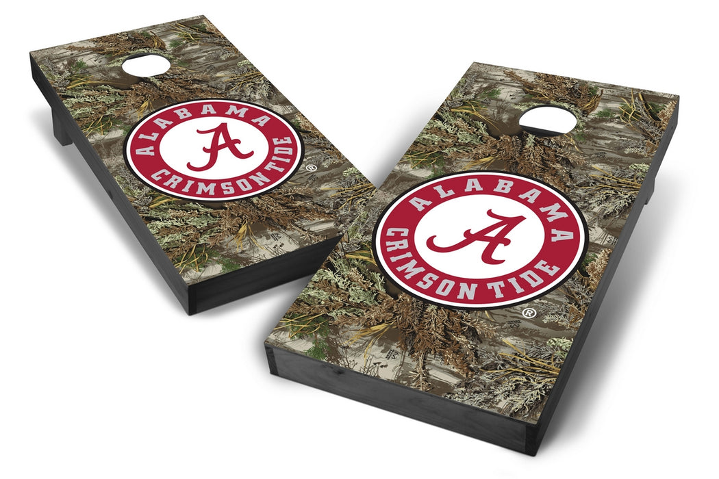 Alabama Crimson Tide 2x4 Cornhole Board Set Onyx Stained - Realtree Max-1 Camo