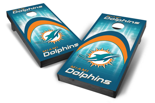 Miami Dolphins 2x4 Cornhole Board Set Onyx Stained - Arch
