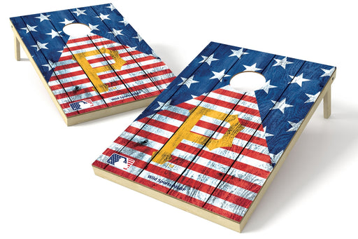 Pittsburgh Pirates 2x3 Cornhole Board Set - American Flag