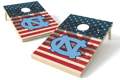 North Carolina Tar Heels 2x3 Cornhole Board Set - American Flag Weathered