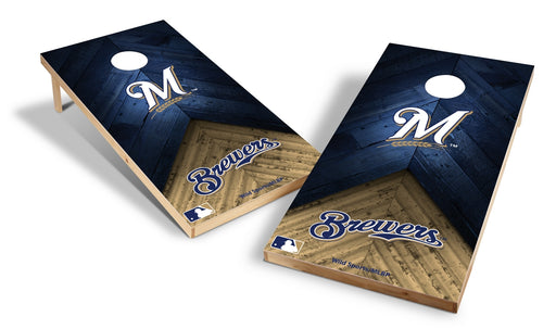 Milwaukee Brewers 2x4 Cornhole Board Set - Weathered