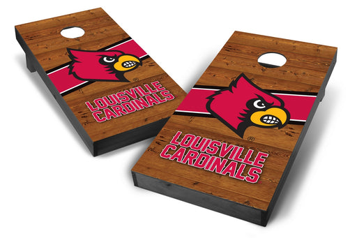 Louisville Cardinals 2x4 Cornhole Board Set Onyx Stained - Logo