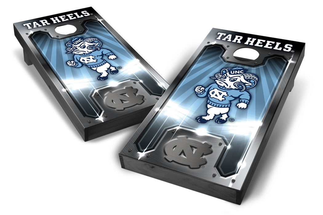 North Carolina Tar Heels 2x4 Cornhole Board Set Onyx Stained - Plate