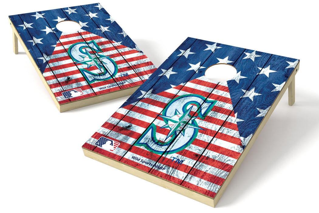 Seattle Mariners 2x3 Cornhole Board Set - American Flag