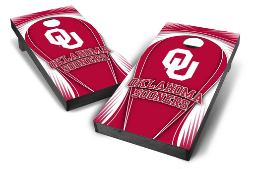 Oklahoma Sooners 2x4 Cornhole Board Set Onyx Stained - Drop
