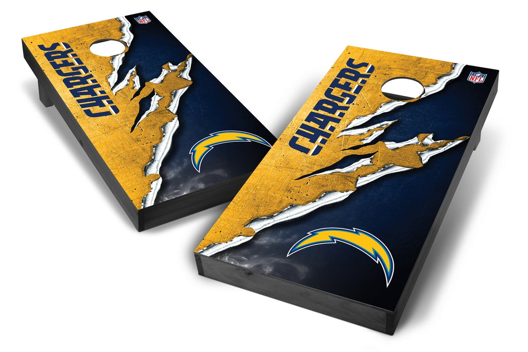 Los Angeles Chargers 2x4 Cornhole Board Set Onyx Stained - Ripped