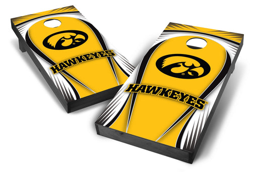 Iowa Hawkeyes 2x4 Cornhole Board Set Onyx Stained - Drop