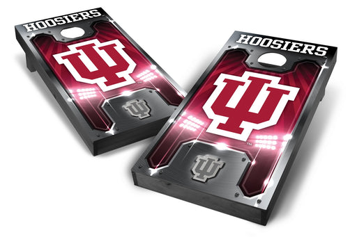 Indiana Hoosiers 2x4 Cornhole Board Set Onyx Stained - Plate