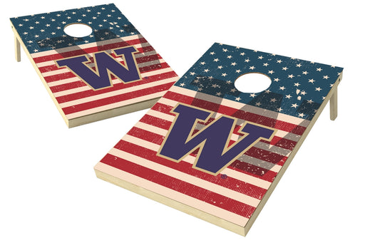 Washington Huskies 2x3 Cornhole Board Set - American Flag Weathered