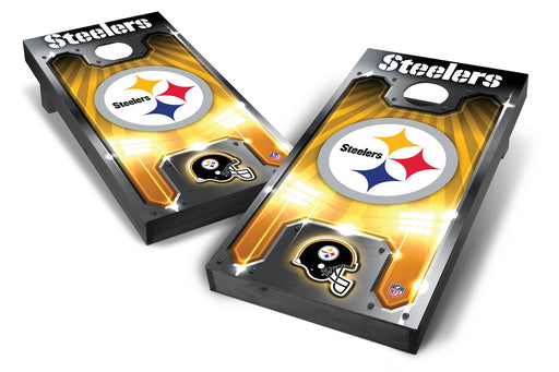 Pittsburgh Steelers 2x4 Cornhole Board Set Onyx Stained - Plate