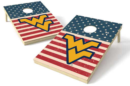 West Virginia Mountaineers 2x3 Cornhole Board Set - American Flag Weathered
