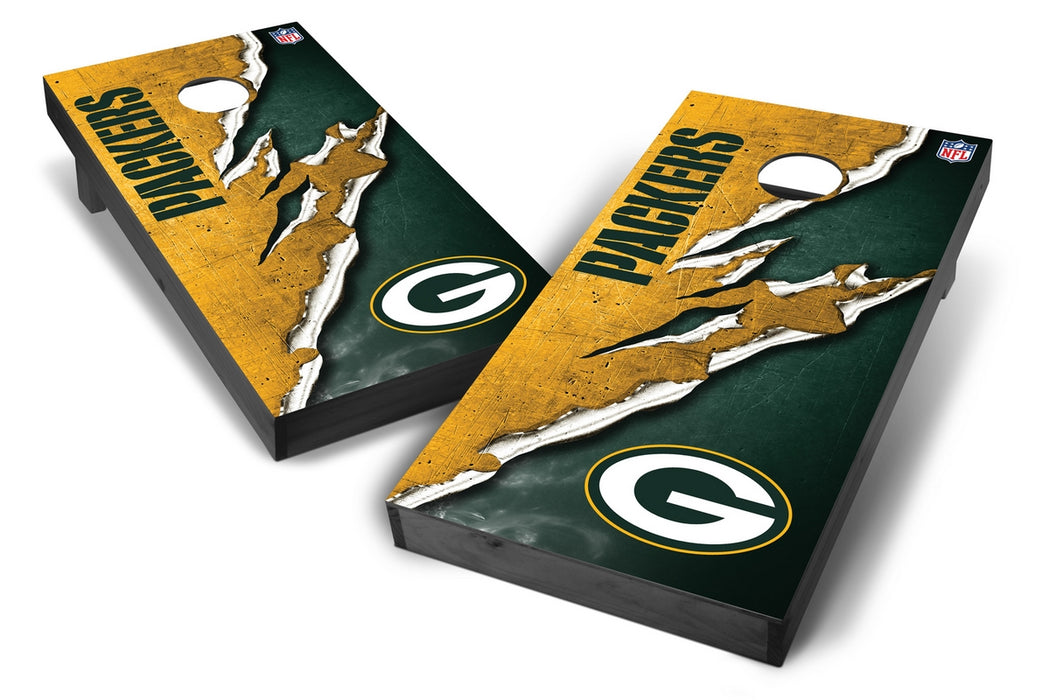 Green Bay Packers 2x4 Cornhole Board Set Onyx Stained - Ripped
