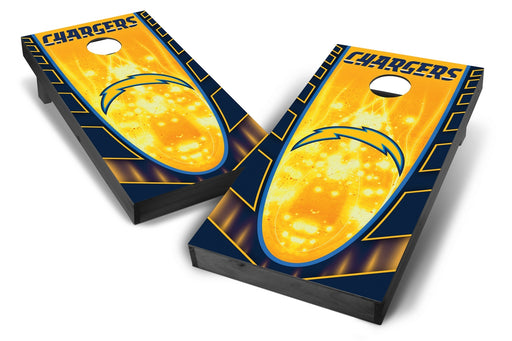 Los Angeles Chargers 2x4 Cornhole Board Set Onyx Stained - Hot
