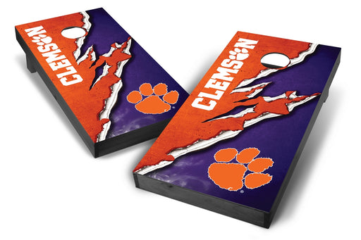 Clemson Tigers 2x4 Cornhole Board Set Onyx Stained -  Ripped