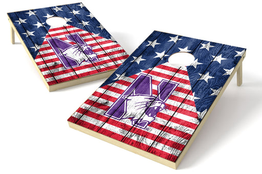 Northwestern Wildcats 2x3 Cornhole Board Set - American Flag