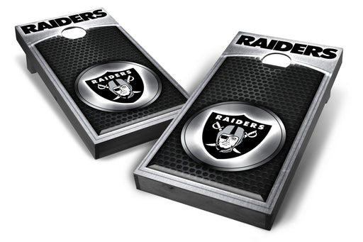 Oakland Raiders 2x4 Cornhole Board Set Onyx Stained - Medallion