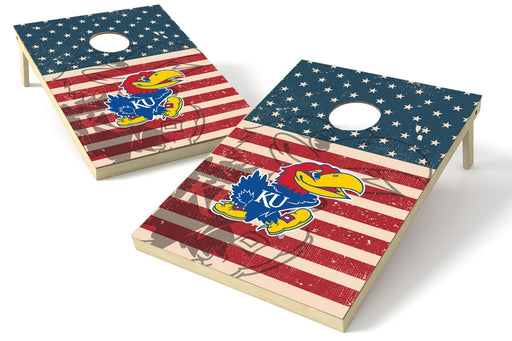 Kansas Jayhawks 2x3 Cornhole Board Set - American Flag Weathered