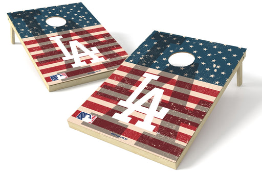 Los Angeles Dodgers 2x3 Cornhole Board Set - American Flag Weathered
