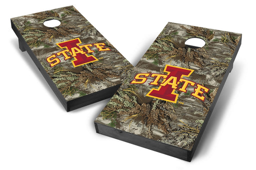 Iowa State Cyclones 2x4 Cornhole Board Set Onyx Stained - Realtree Max-1 Camo