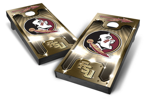 Florida State Seminoles 2x4 Cornhole Board Set Onyx Stained - Plate