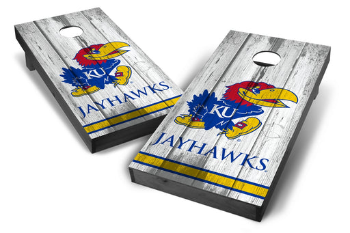 Kansas Jayhawks 2x4 Cornhole Board Set Onyx Stained - Vintage
