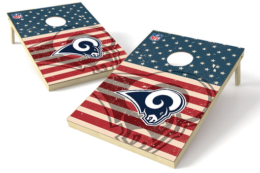 Los Angeles Rams 2x3 Cornhole Board Set - American Flag Weathered