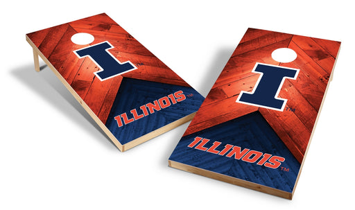 Illinois Fighting Illini 2x4 Cornhole Board Set - Weathered