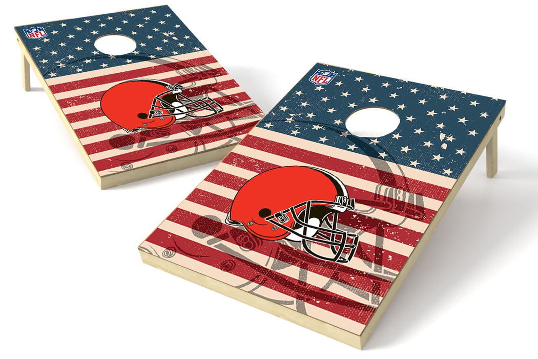 Cleveland Browns 2x3 Cornhole Board Set - American Flag Weathered