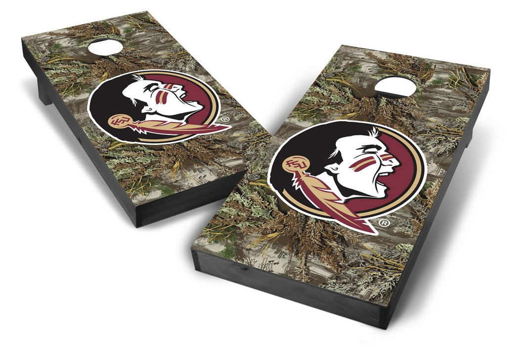 Florida State Seminoles 2x4 Cornhole Board Set Onyx Stained - Realtree Max-1 Camo