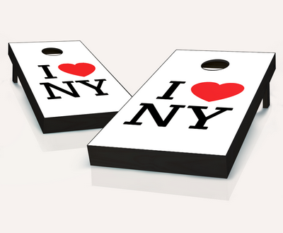 I Heart NY White Cornhole Set