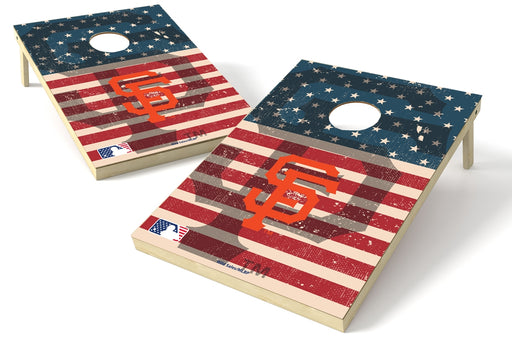 San Francisco Giants 2x3 Cornhole Board Set - American Flag Weathered