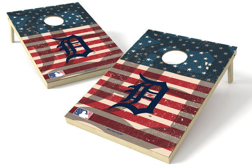 Detroit Tigers 2x3 Cornhole Board Set - American Flag Weathered