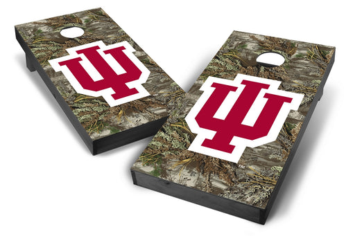 Indiana Hoosiers 2x4 Cornhole Board Set Onyx Stained - Realtree Max-1 Camo