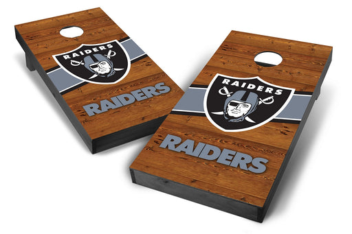 Oakland Raiders 2x4 Cornhole Board Set Onyx Stained - Logo