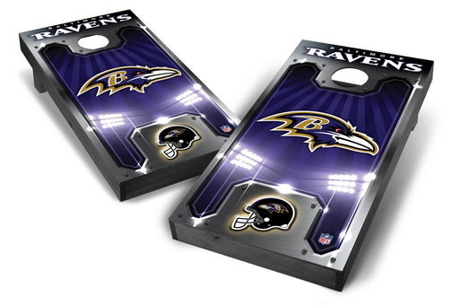 Baltimore Ravens 2x4 Cornhole Board Set Onyx Stained - Plate