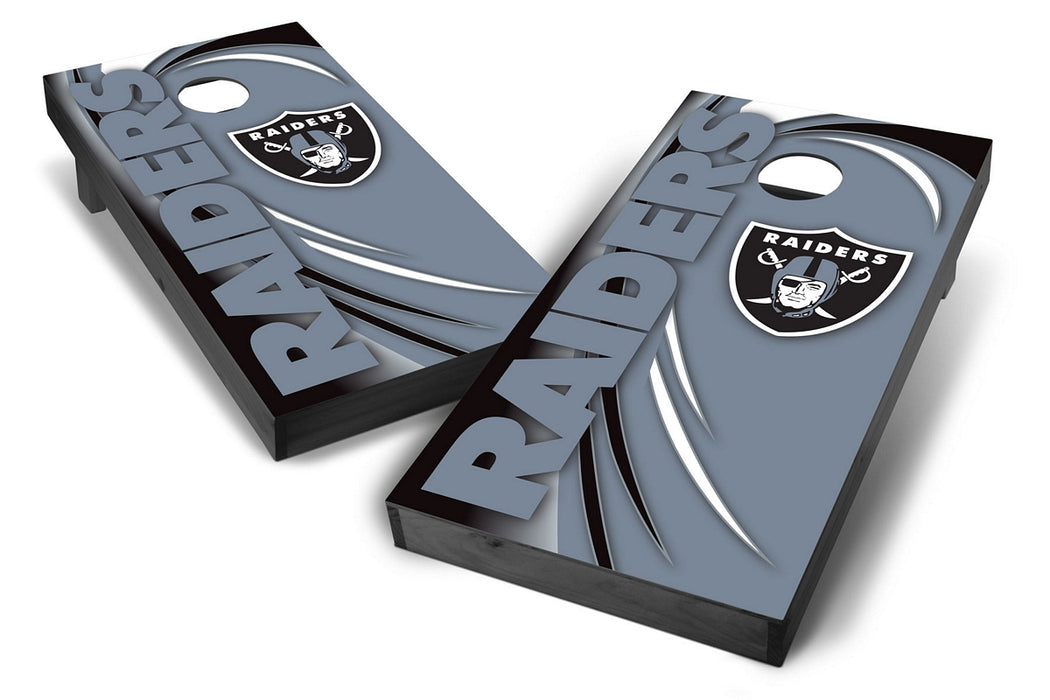 Oakland Raiders 2x4 Cornhole Board Set Onyx Stained - Spiral