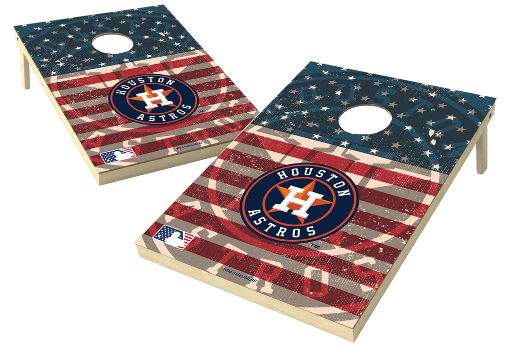 Houston Astros 2x3 Cornhole Board Set - American Flag Weathered