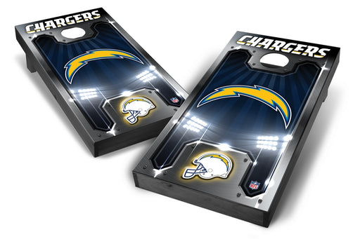 Los Angeles Chargers 2x4 Cornhole Board Set Onyx Stained - Plate