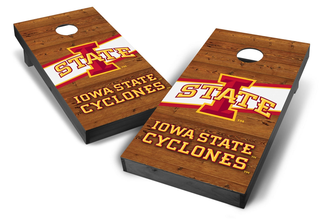 Iowa State Cyclones 2x4 Cornhole Board Set Onyx Stained - Logo