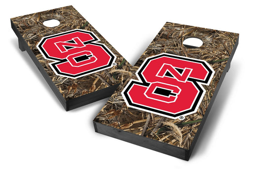 NC State Wolfpack 2x4 Cornhole Board Set Onyx Stained - Realtree Max-5 Camo