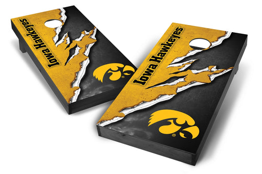 Iowa Hawkeyes 2x4 Cornhole Board Set Onyx Stained -  Ripped